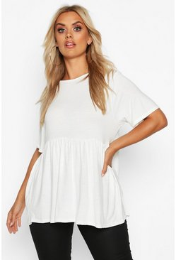 White Plus Jersey Frill Hem Smock Top