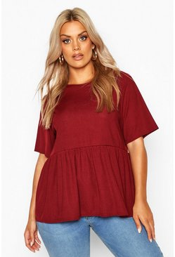 Berry red Plus Rib Ruffle Sleeve Smock Top