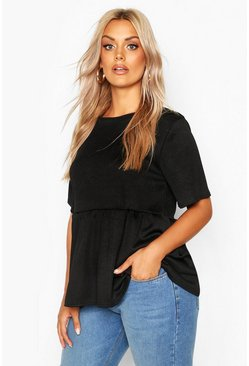 Black Plus Rib Ruffle Sleeve Smock Top