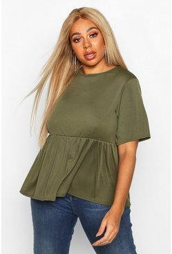 Khaki Plus Rib Ruffle Sleeve Smock Top
