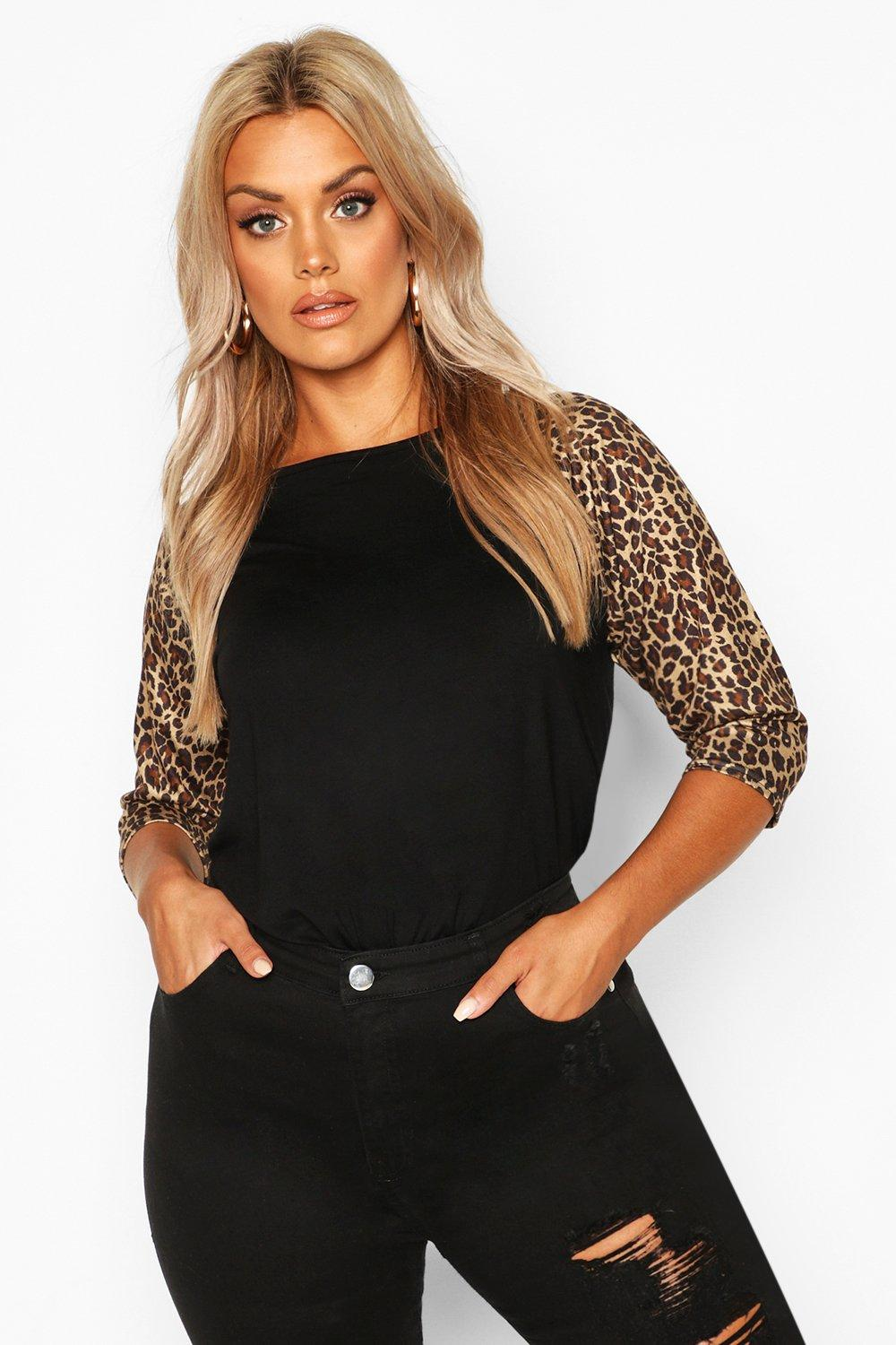 Plus Contrast Leopard Sleeve T-Shirt 4