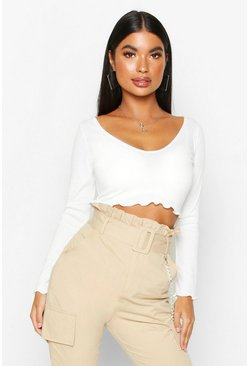 Ivory white Petite Lettuce Hem V-Neck Long Sleeve Crop Top