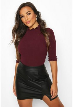 Berry red Petite High Neck Ribbed Top