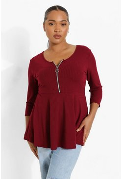 Berry Plus Zip Front Rib Peplum Top