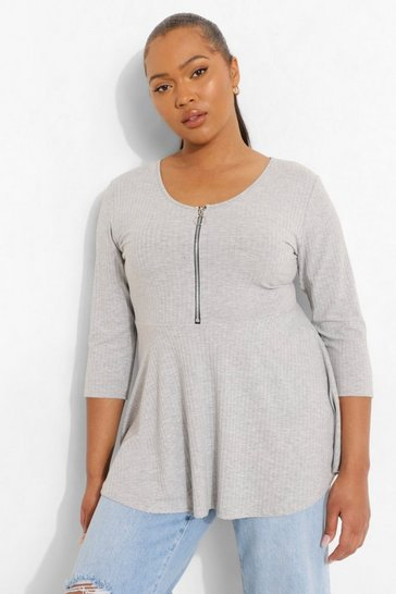 Grey Plus Zip Front Rib Peplum Top