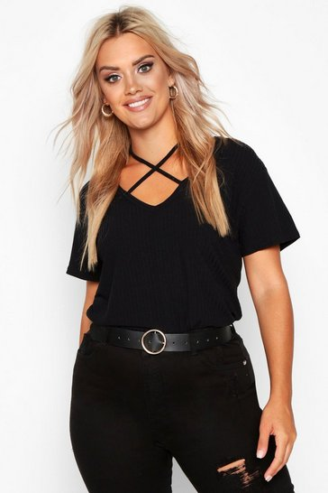 Black Plus Cross Front Strap Ribbed T-Shirt