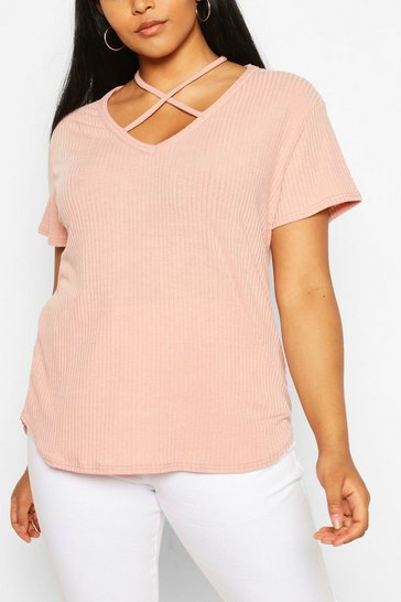 Blush pink Nude Plus Cross Front Strap Ribbed T-Shirt