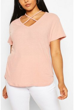Blush pink Plus Cross Front Strap Ribbed T-Shirt