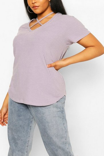 Grey Plus Cross Front Strap Ribbed T-Shirt