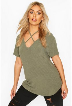 Khaki Plus Cross Front Strap Ribbed T-Shirt
