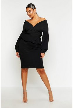 Black Plus Off The Shoulder Wrap Peplum Dress