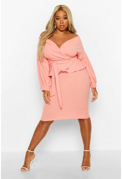 Coral blush pink Plus Off The Shoulder Wrap Peplum Dress