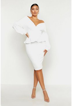 Ivory white Plus Off The Shoulder Wrap Peplum Dress