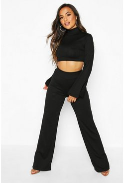 Black Petite Jumbo Rib Wide Leg Trousers