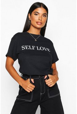 "Camiseta con eslogan ""Self Love"" Petite, Negro"