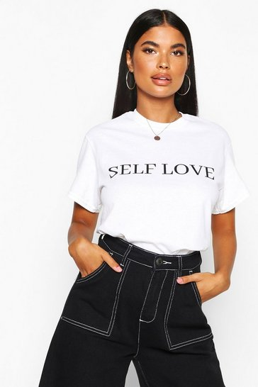 White Petite 'Self Love' Slogan T-Shirt