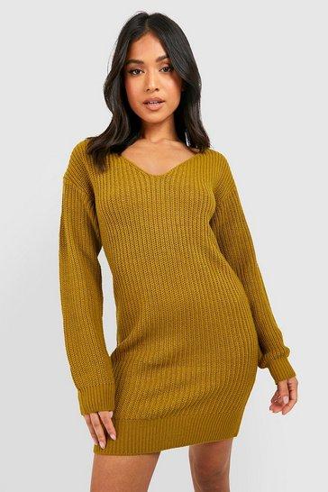 Olive green Petite V-Neck Jumper Mini Dress