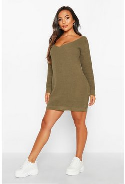 Olive green Petite V-Neck Jumper Mini Dress
