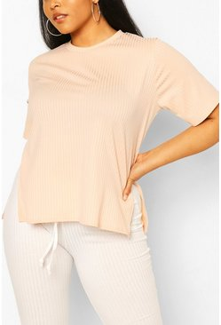 Blush Plus Oversized Side Split Ribbed Tee