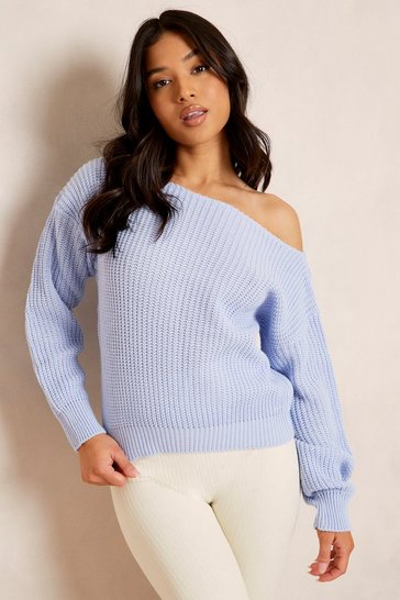 Baby blue blue Petite Slash Neck Crop Fisherman Jumper