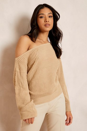 Stone beige Petite Slash Neck Crop Fisherman Jumper