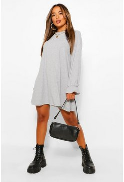 Grey marl grey Petite Soft Rib Swing Dress
