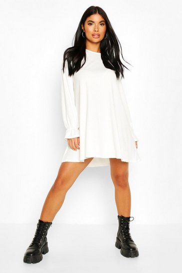 Ivory white Petite Soft Rib Swing Dress