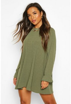 Khaki Petite Soft Rib Swing Dress