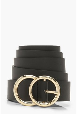 Black Plus Gold O Ring Boyfriend Belt
