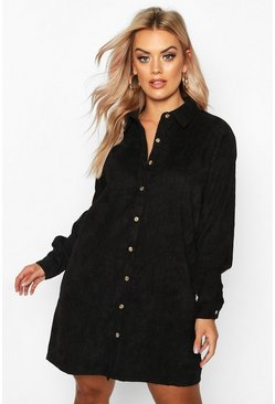 Black Plus Baby Cord Shirt Dress