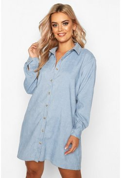 Blue Plus Baby Cord Shirt Dress