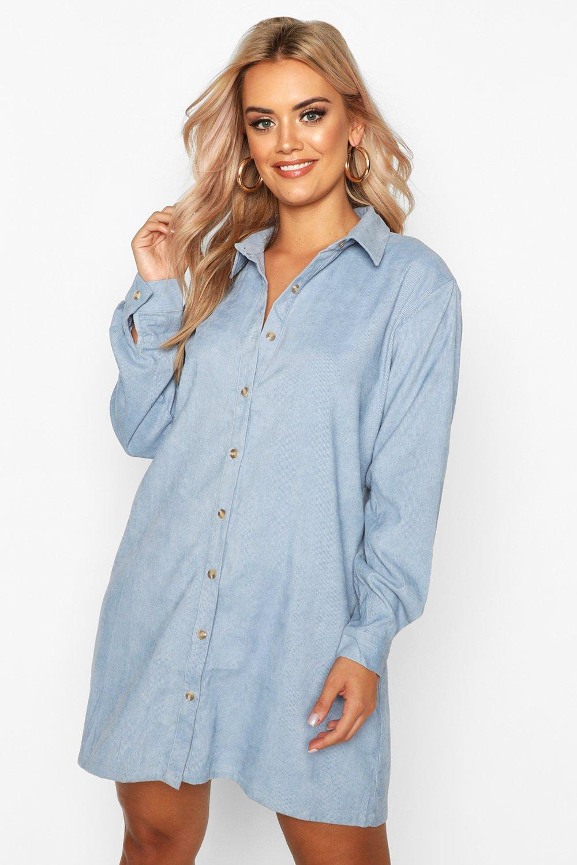 Plus Baby Cord Shirt Dress 8