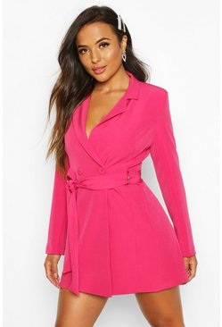 Hot pink pink Petite Tailored D-Ring Belted Blazer Dress