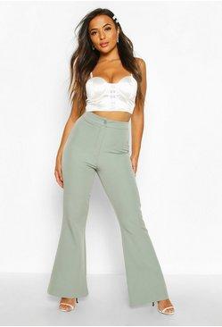 Pantalones Acampanados Entallados Con Cintura Alta Petite Boohoo