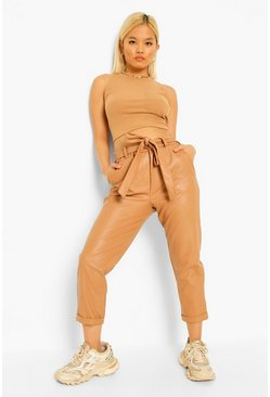 Camel beige Petite Pu Faux Leather Belted Tapered Pants