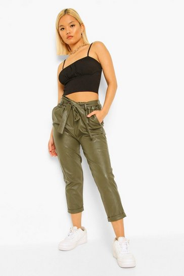 Khaki Petite PU Faux Leather Belted Tapered Trousers