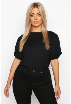 Black Plus Ruched Knot Puff Sleeve T-Shirt