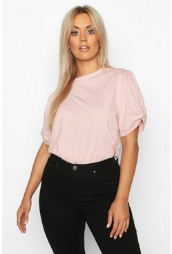 Blush pink Plus Ruched Knot Puff Sleeve T-Shirt