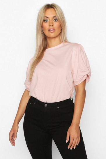 Blush pink Nude Plus Ruched Knot Puff Sleeve T-Shirt