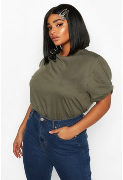 Khaki Plus Ruched Knot Puff Sleeve T-Shirt