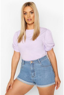 Lilac purple Plus Ruched Knot Puff Sleeve T-Shirt