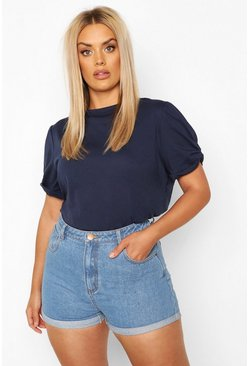 Navy Plus Ruched Knot Puff Sleeve T-Shirt