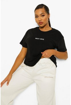 "Camiseta con eslogan ""Self Love"" Plus, Negro"