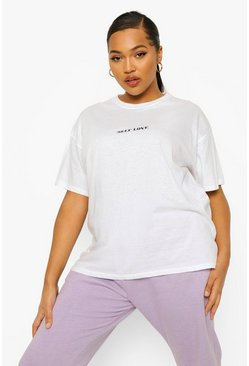 White Plus Self Love Slogan T-Shirt