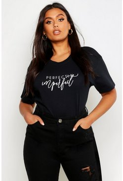 Black Plus Perfectly Imperfect Graphic T-Shirt