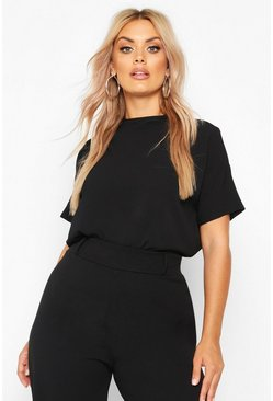 Black Plus Woven High Neck Short Sleeve Blouse