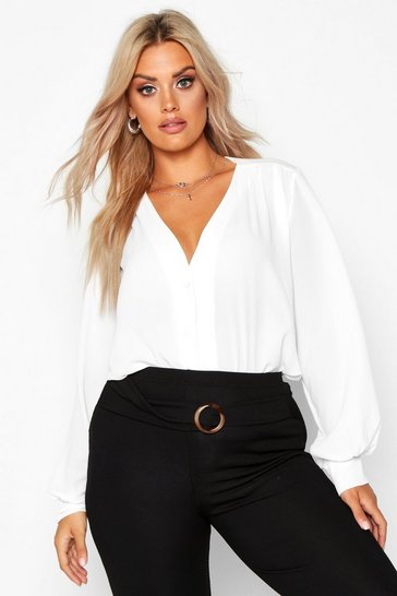 White Plus Woven Button Through Collarless Shirt