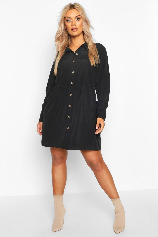 Plus Button Through Smock Shirt Dress 8
