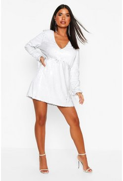 White Petite Plunge Sequin Skater Dress