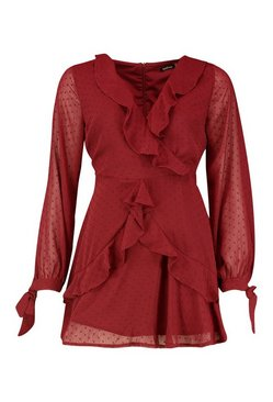 Berry Petite Long Sleeve Dobby Mesh Ruffle Dress